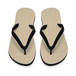 Tan Linen Look Flip Flops