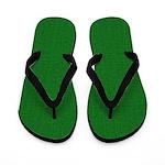 Green Linen Look Flip Flops