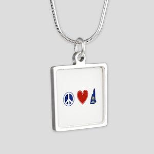 Peace Love New Hampshire Silver Square Necklace
