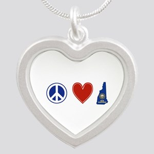 Peace Love New Hampshire Silver Heart Necklace