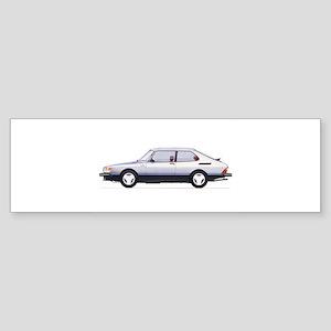 Silver Saab 900 Bumper Sticker