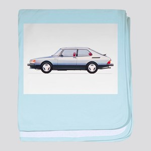 Silver Saab 900 baby blanket