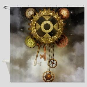 Steam Dreams: Sky Clock Shower Curtain