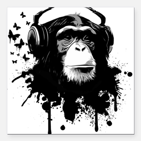 "Headphone Monkey Square Car Magnet 3"" x 3"""
