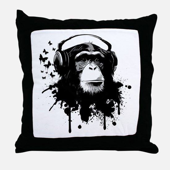 Headphone Monkey Throw Pillow