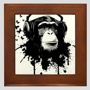 Headphone Monkey Framed Tile
