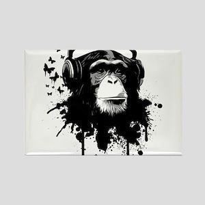 Headphone Monkey Rectangle Magnet