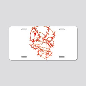 Skull and Barbed Wire Aluminum License Plate