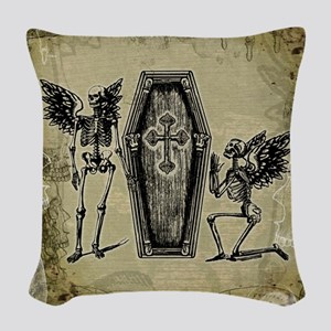 Winged Skeletons And Coffin Woven Throw Pillow