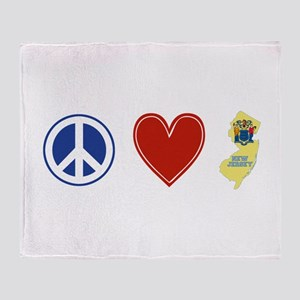 Peace Love New Jersey Throw Blanket