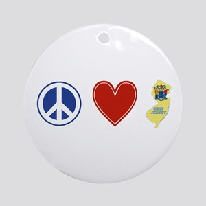 Peace Love New Jersey Ornament (Round)