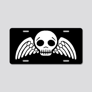 Winged Skull Aluminum License Plate