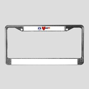 Peace Love North Carolina License Plate Frame