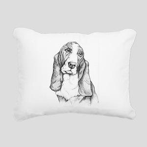 Basset Hound drawing Rectangular Canvas Pillow