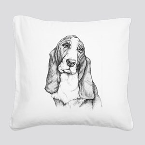 Basset Hound drawing Square Canvas Pillow