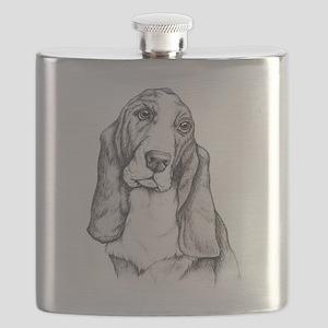 Basset Hound drawing Flask