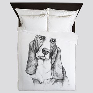 Basset Hound drawing Queen Duvet