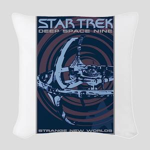 Retro Star Trek:DS9 Poster Woven Throw Pillow