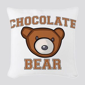 Chocolate Bear Woven Throw Pillow