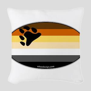 Oval Bear Pride Flag Woven Throw Pillow