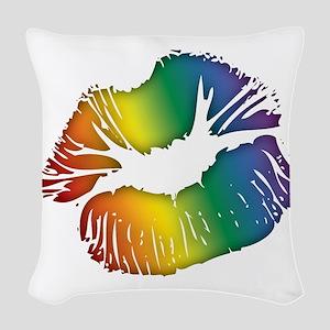 Big Rainbow Lips Woven Throw Pillow