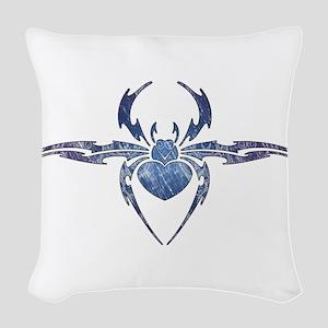Tribal Spider Tattoo Woven Throw Pillow