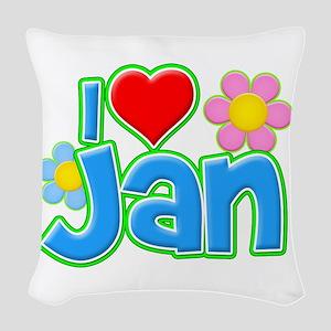 I Heart Jan Woven Throw Pillow