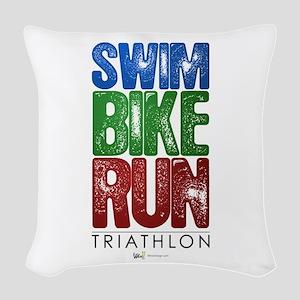 Swim, Bike, Run - Triathlon Woven Throw Pillow
