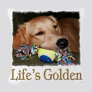 Lifes Golden Woven Throw Pillow