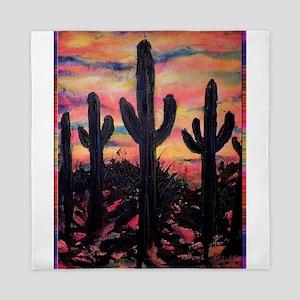 Desert, southwest art! Saguaro cactus! Queen Duvet