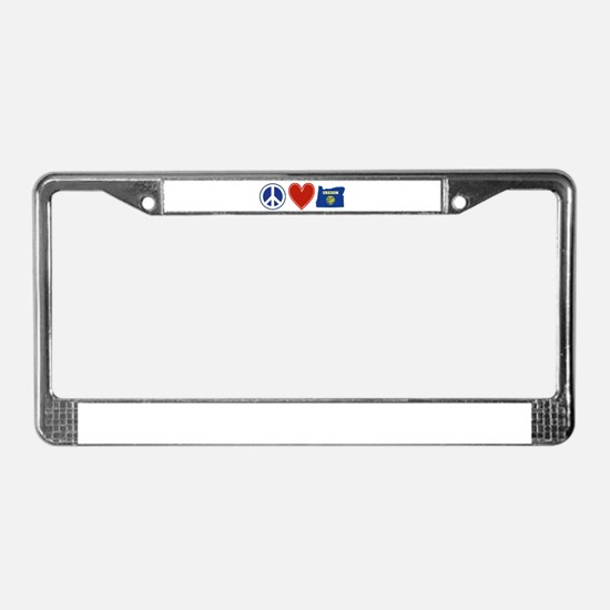 Peace Love Oregon License Plate Frame