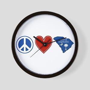 Peace Love South Carolina Wall Clock