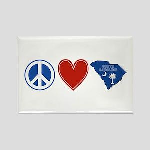 Peace Love South Carolina Rectangle Magnet