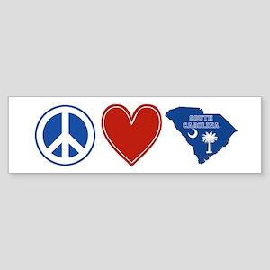Peace Love South Carolina Sticker (Bumper)
