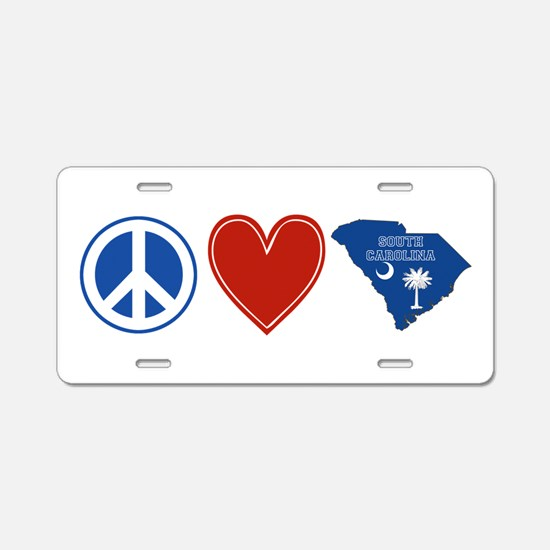 Peace Love South Carolina Aluminum License Plate