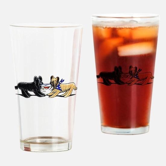 Briard Hat Off-Leash Art™ Drinking Glass