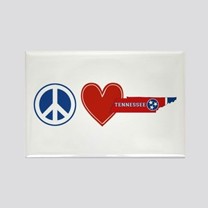 Peace Love Tennessee Rectangle Magnet