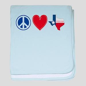 Peace Love Texas baby blanket