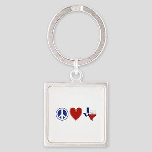 Peace Love Texas Square Keychain