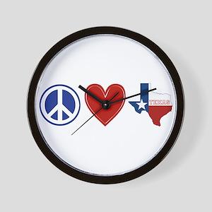 Peace Love Texas Wall Clock