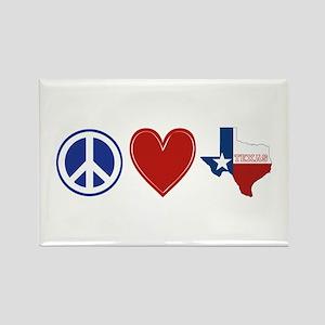 Peace Love Texas Rectangle Magnet