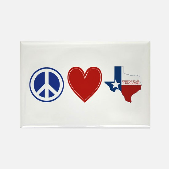 Peace Love Texas Rectangle Magnet