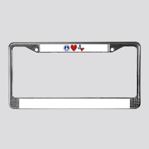 Peace Love Texas License Plate Frame