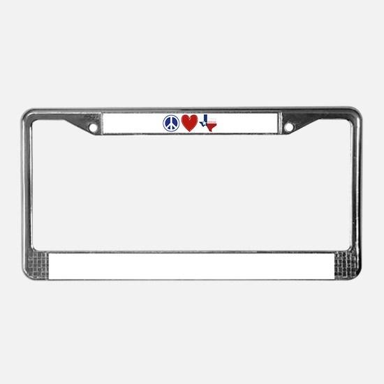 Peace Love Texas License Plate Frame