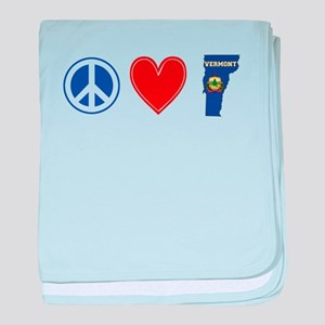 Peace Love Vermont baby blanket