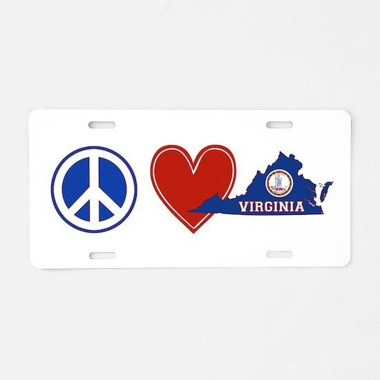 Peace Love Virginia Aluminum License Plate