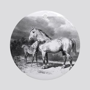 Mama And Baby Horse Ornament (Round)