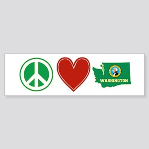Peace Love Washington Sticker (Bumper)