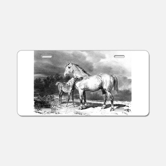 Mama And Baby Horse Aluminum License Plate