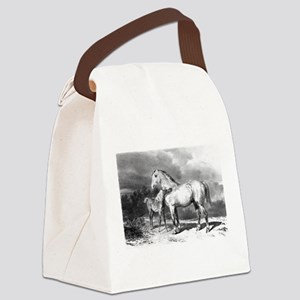 Mama And Baby Horse Canvas Lunch Bag